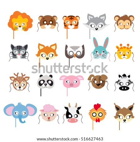Collection of different animal masks on face. Mask of lion, bear, tiger, rabbit, monkey, cat, fox, owl, hare, giraffe, deer, panda, pig, dog, zebra, elephant, sheep, cow, squirrel. Flat desing. Vector