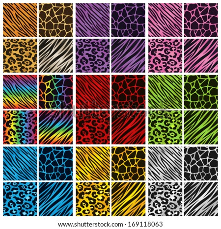 Collection of 36 different animal print backgrounds in various colors. Eps 10 Vector.