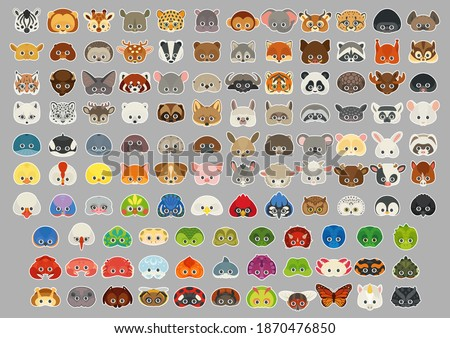 Collection of different animal stickers or icons. All popular animals: wild, domestic, farm animals, pets, birds, reptiles, amphibian, insects, sea animals. Animal paper face masks for children