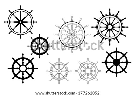 Collection of different black and white logo designs for nautical ships wheels