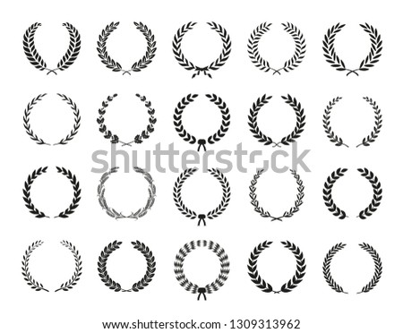 Collection of different black and white silhouette circular laurel foliate, wheat, olive and oak wreaths depicting an award, achievement, heraldry, nobility. Vector illustration.