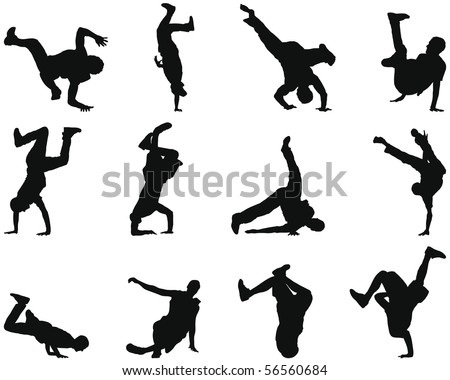 Collection of different break-dance silhouettes. Vector illustration.