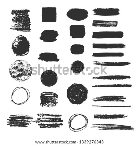 Collection of different charcoal hatches. Pencil scribble texture. Rough edges background.