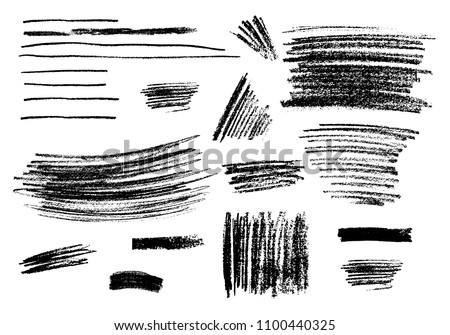 Collection of different charcoal hatches. Vector isolated scetches. Pencil scribble texture. Rough edges background.