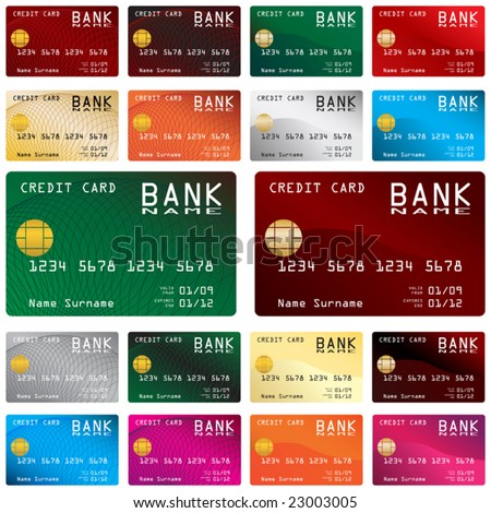 Collection of different colored credit cards for banks