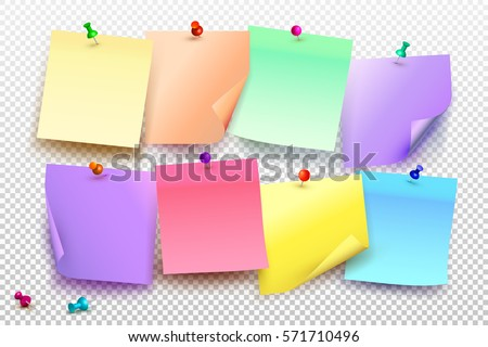 Collection of different colored sheets of note papers with curled corner and push pin, ready for your message. Vector illustration. Isolated on transparent background.