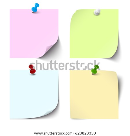collection of different colored sticky notes with shadows