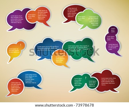 collection of different conversation speech bubbles
