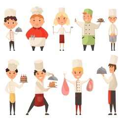 Collection of different Cook Chef. Child in a cook cap holding dish with food. Logo design template for baby food. Character child chef profession, waiter and baker, confectioner illustration