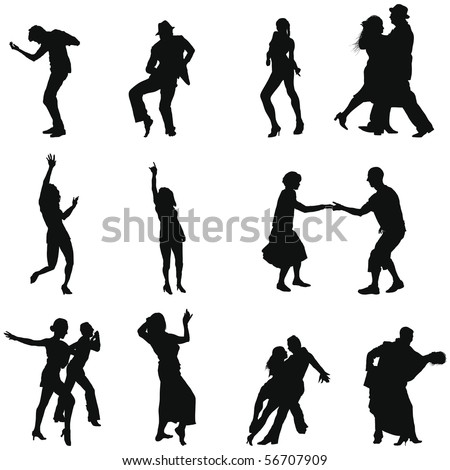 Collection of different dance silhouettes. Vector illustration.