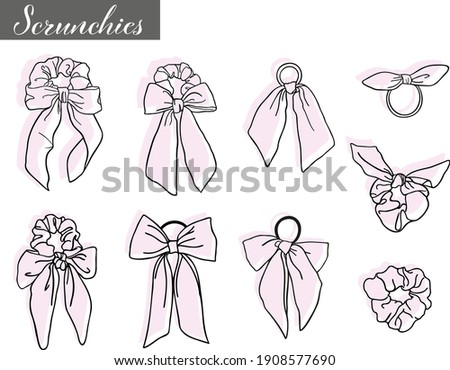 Collection of different doodled outline vector scrunchies with seperate backgrounds, editable. Vsco girly trend.