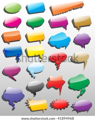 Collection of different empty vector 3D shapes of speech bubbles for comics or web.