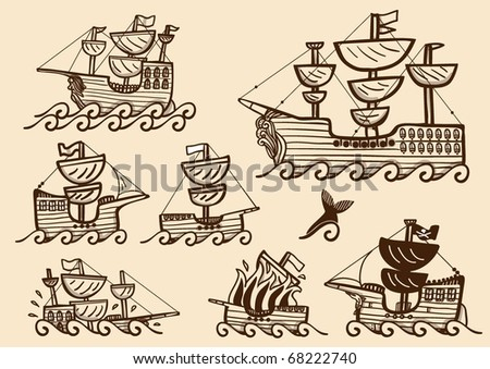 Collection of different galleons, brigs and ancient ships, in sepia color