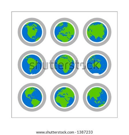 Collection of 9 different globe icons - Version 1. The icons cover all continents. Change buttons colors as you wish. Please check other versions and sets. - stock vector