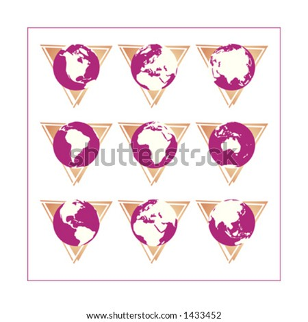 Collection of 9 different globe icons - Version 3. The icons cover all continents. Change buttons colors as you wish. Please check other versions and sets. - stock vector