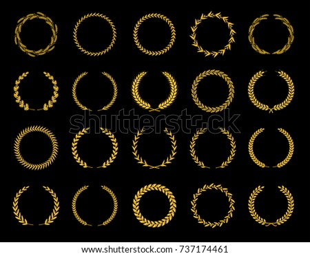 Collection of different golden silhouette circular laurel foliate, wheat and oak wreaths depicting an award, achievement, heraldry, nobility. Vector illustration.