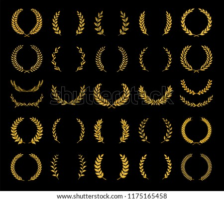 Collection of different golden silhouette laurel foliate, wheat and olive wreaths depicting an award, achievement, heraldry, nobility, game dev. Vector illustration.