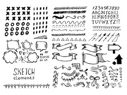 Collection of different graphic vector elements in doodle style. Hand-drawn sketches of arrows, speech bubbles, alphabet, numbers, swirls, strokes and other symbols. Hand drawn black and white set