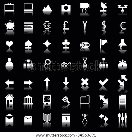Collection of different icons for using in web design.