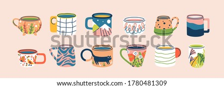Collection of different modern cups decorated with design elements vector flat illustration. Set of colored mugs filling by beverages isolated. Cute trendy crockery with handle for drink