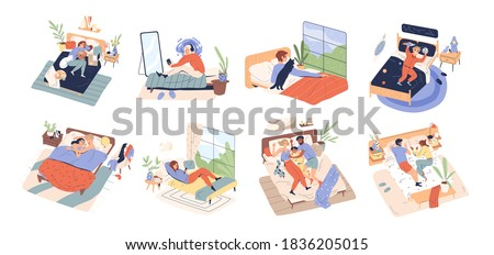 Collection of different people relax in cozy bedroom. Women, men and children lying, playing, sleeping, cuddling, reading in bed. Rest at home. Flat vector cartoon illustration isolated on white