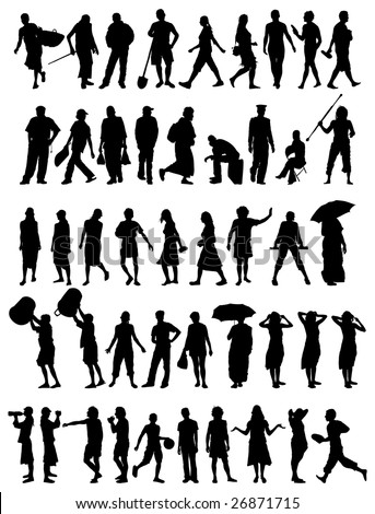 collection of different people vector silhouettes