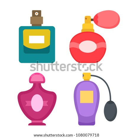Collection of different perfume and adekalon icons in a flat style isolated on white background