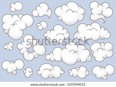Collection of different shaped cartoon clouds
