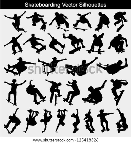 Collection of 30 different skateboarder vector silhouettes