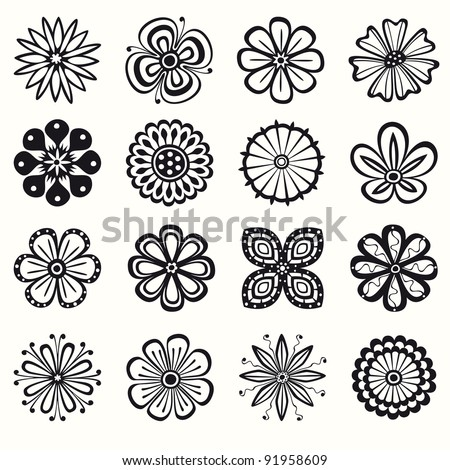 Collection of 16 different stylistic flowers in black and white