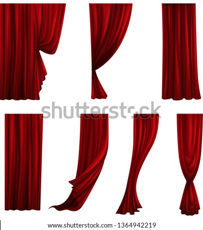 Collection of different theater curtains. Red velvet drapes. Vector illustration