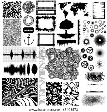 Collection of different vector shapes and patterns for designing