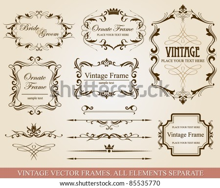 Collection of different vintage frames, vector illustration, all elements separate