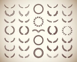 Collection of different vintage silhouette laurel foliate and wheat wreaths depicting an award, achievement, heraldry, nobility, emblem. Vector illustration.