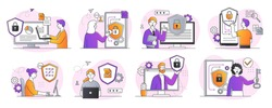 Collection of digital data protection abstract designs. Including cyber security, data center, rights of access concepts. Set of flat cartoon vector illustrations isolated on white background