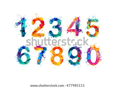 Collection of digits. Numbers, figures. Vector paint splash.