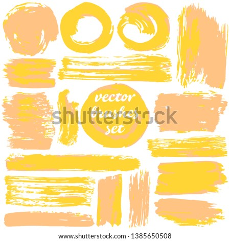 Collection of dirty elements. Large set of two-color strokes, brushes, strokes and lines. Vector illustration. Isolated. Sunny colors