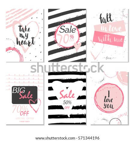 Collection of 6 Discount cards design. Can be used for social media sale website, poster, flyer, email, newsletter, ads, promotional material. Mobile banner template. #571344196