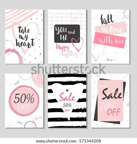 Collection of 6 Discount cards design. Can be used for social media sale website, poster, flyer, email, newsletter, ads, promotional material. Mobile banner template. #571344208