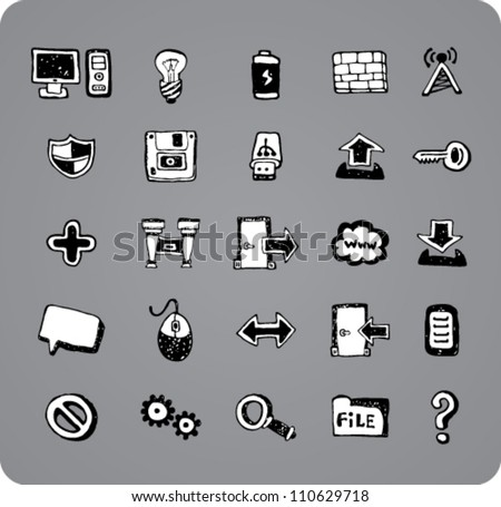 Collection of doodle black and white computer icons isolated on gray background
