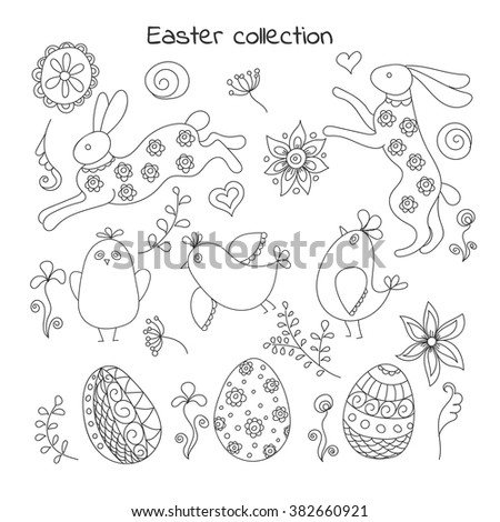 Collection of doodle easter elements #382660921