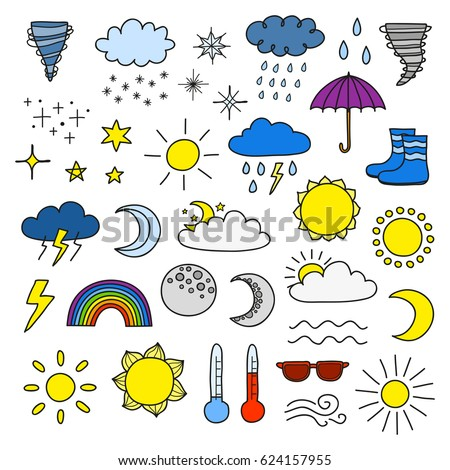 Collection of doodle weather icons including sun, clouds, rain drops, snowflakes, stars, moon, rainbow, thunder, thermometer isolated on white background.