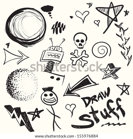 Collection of doodles and drawings in vector format with a variety of elements.