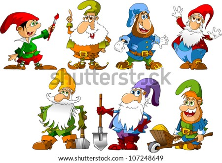 collection of dwarfs of different ages and occupations (illustration)