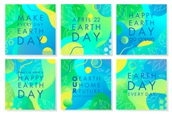Collection of Earth Day posters with gradient backgrounds,liquid shapes,tiny leaves and geometric elements.Earth Day layouts perfect for prints,flyers,covers,banners design and more.Eco concepts.