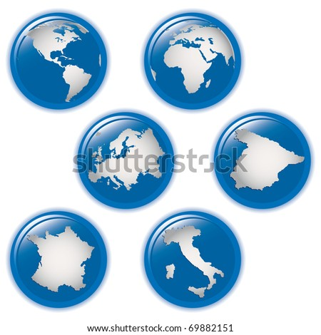 collection of earth globes icons and Italy, Spain, France and Europe, illustration. Vector format