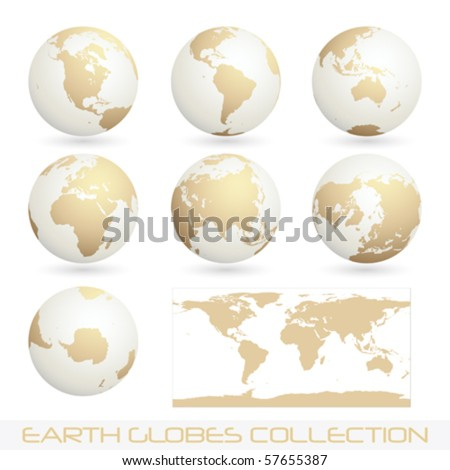 collection of earth globes isolated on white, vector illustration
