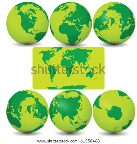 Collection of Earth Globes Vector