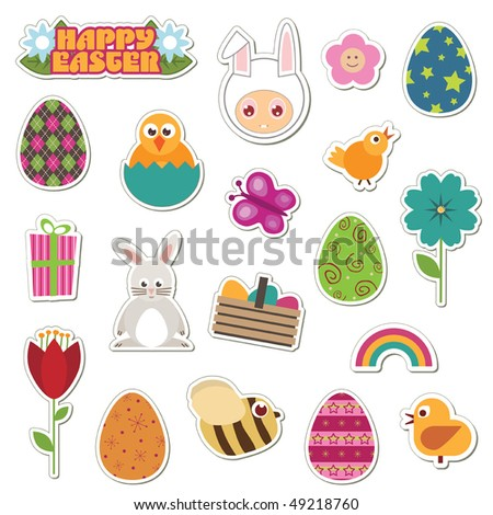 collection of easter theme stickers with eggs, flowers and chicks