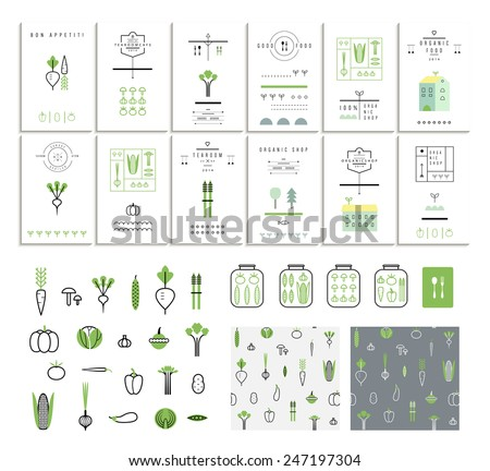 Collection of 12 eco cards. Vegetables. Icons. Two seamless patterns. Vector. Isolated